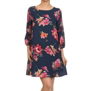 Everly Floral Navy Shift Dress